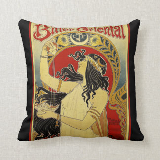 Bitter Oriental Art Nouveau Advert Throw Pillow