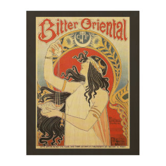 """Bitter Oriental"" Vintage Ad wood canvas"