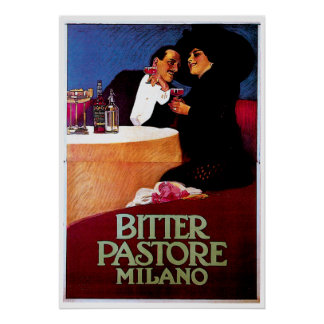 Bitter Pastore Milano Vintage Wine Drink Ad Art Poster