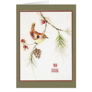 Bittersweet--Carolina Wren. Holiday card. Card