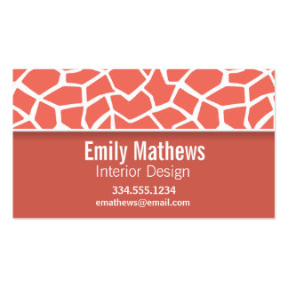 Bittersweet Color Giraffe Print; Personalized Double-Sided Standard Business Cards (Pack Of 100)