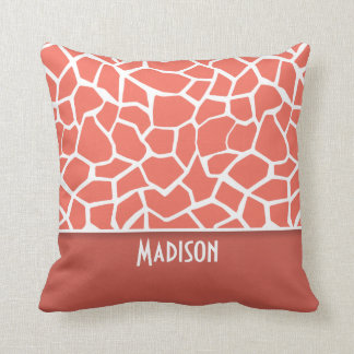 Bittersweet Color Giraffe Print; Personalized Throw Pillow
