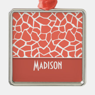 Bittersweet Color Giraffe Print; Personalized Square Metal Christmas Ornament