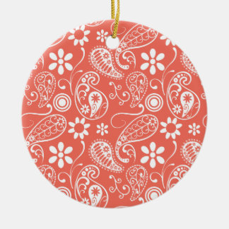 Bittersweet Color Paisley; Floral Round Ceramic Decoration