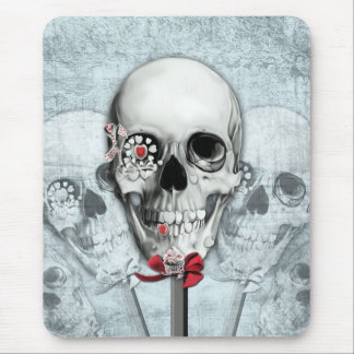 Bittersweet red white and blue skull pops mouse pad