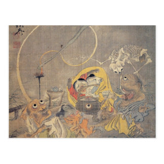 Bizarre Ancient Japanese Painting of Demons Postcard
