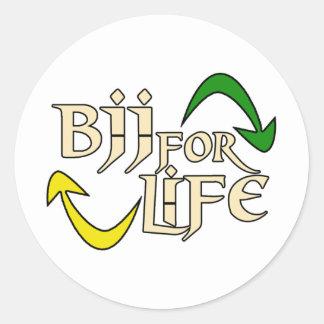 BJJ 4 Life Round Stickers