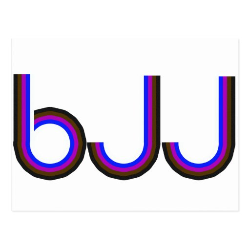 BJJ - Brazilian Jiu Jitsu - Colored Letters Post Card