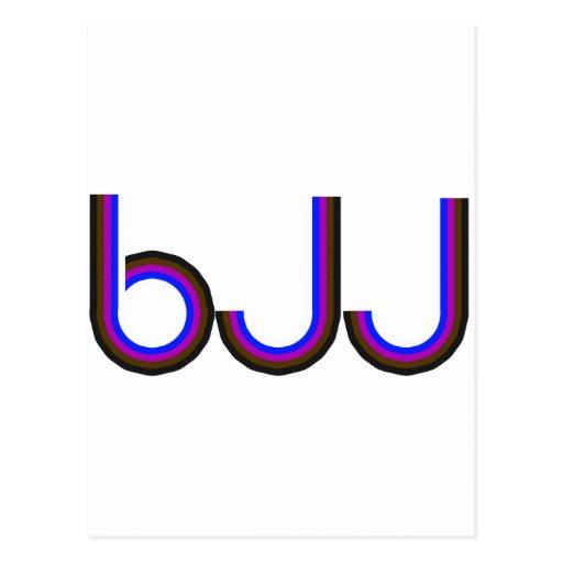 BJJ - Brazilian Jiu Jitsu - Colored Letters Postcard