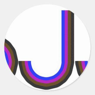 BJJ - Brazilian Jiu Jitsu - Colored Letters Round Stickers