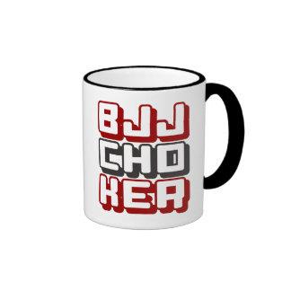 BJJ CHOKER - Brazilian Jiu-Jitsu Black Belt, Red Ringer Mug