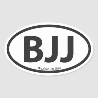 BJJ Euro Style Car Emblem Oval Sticker