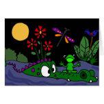 BL- Frog Sitting on Alligator Nose Cartoon Greeting Card