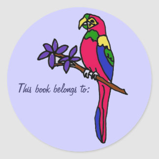 BL- This book belongs to: parrot sticker