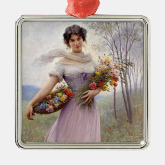 Blaas: Girl in Lilac with Flowers Christmas Ornament