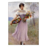 Blaas: Girl in Lilac with Flowers Greeting Card