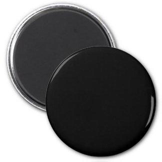 Black #000000 Solid Color 6 Cm Round Magnet