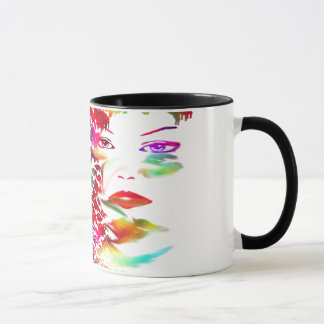 Black 11 oz Ringer Mug-colorful girl face-fun art