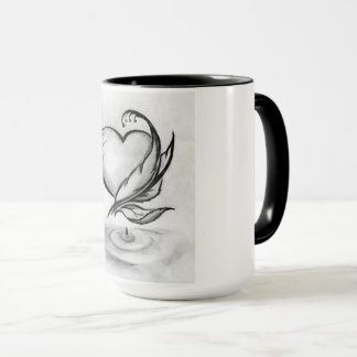 Black 15oz combo mug with feather, heart