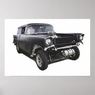 Black 1957 Chevy sedan delivery wagon gasser drag Poster