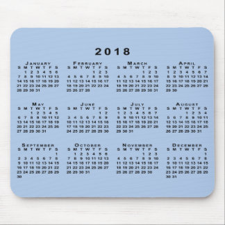 Black 2018 Calendar on Customizable Light Blue Mouse Mat