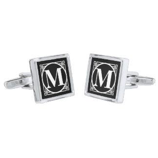 Black 25 Monogrammed Silver Finish Cufflinks