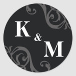 Black 2 initial letter monogram favour tag seal round stickers