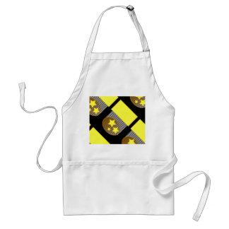 Black 3 yellow stars black background bold apron