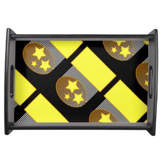 Black 3 yellow stars black background bold d tray