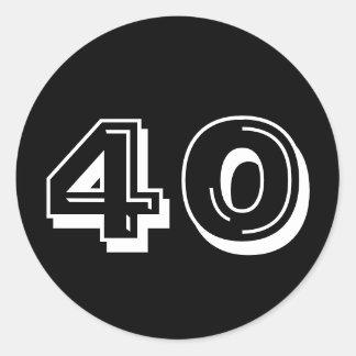 Black 40th Birthday Round Sticker