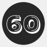 Black 60th Birthday Round Sticker