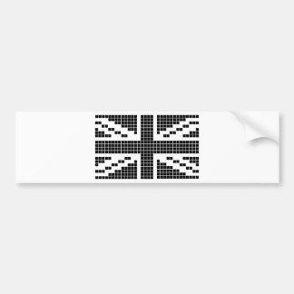 Black 8-bit Pixels Union Jack British UK Flag Bumper Stickers