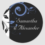 Black aand White with Periwinkle Swirl Sticker