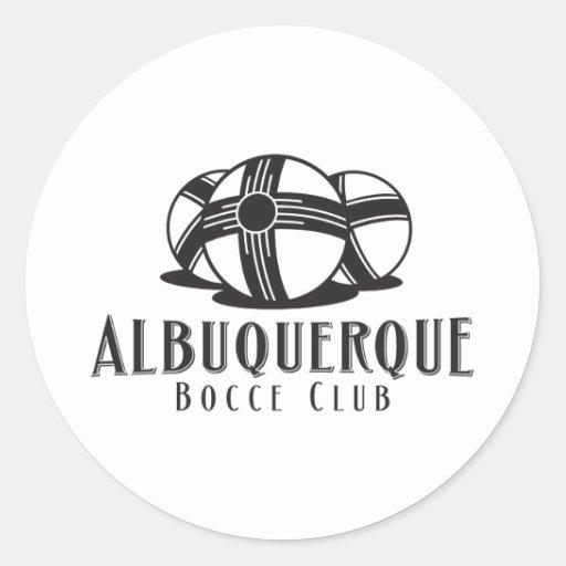 Black ABQ bocce Club Round Stickers
