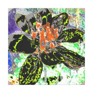 BLACK ABSTRACT DAHLIA FLORAL FLOWER CANVAS PRINT