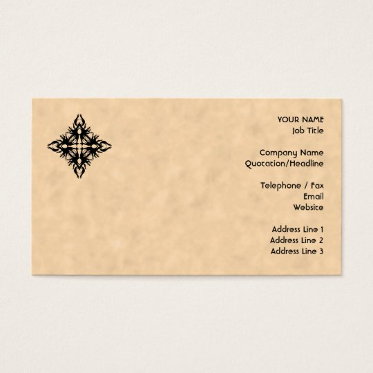 Black Abstract Design on Parchment Effect Pattern Business Card