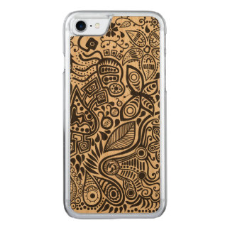 Black Abstract Doodles With Butterfly And Flowers Carved iPhone 8/7 Case
