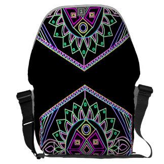 Black Abstract Messenger Bag