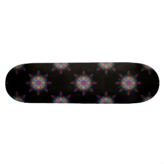 Black Abstract Multicolored Star Burst Skateboard