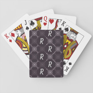 Black Abstract Pattern Monogram Playing Cards