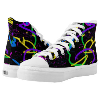 Black Abstract Zipz High Top Shoes Printed Shoes