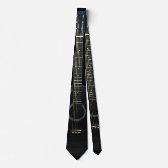 Black Acoustic Guitar 2 Sided Music Tie