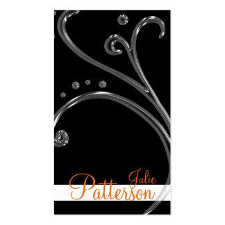 Black Acrylic Chic Swirl 2 Design Business Cards