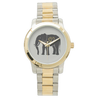 Black African Elephant Silver with Golden Initials Watch