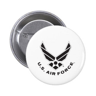 Black Air Force Logo & Name with Outline 6 Cm Round Badge