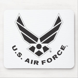 Black Air Force Logo & Name with Outline Mouse Pad