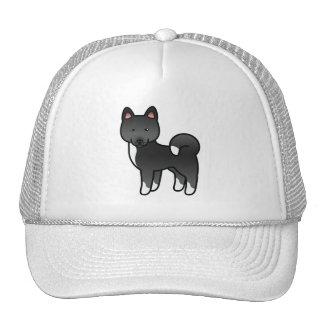 Black Akita Cartoon Dog Illustration Cap