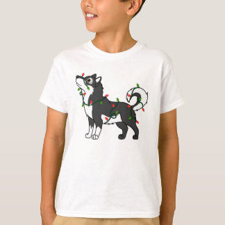 Black Alaskan Malamute with Christmas Lights T-Shirt