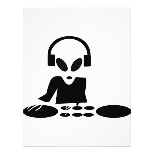 black alien turn tables dj icon personalized flyer