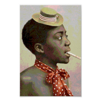 Black America Vintage Boy With Cigar Poster
